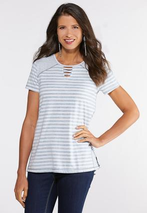 Plus Size Seamed Lattice Neck Tee