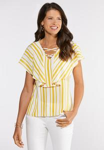 Striped Lattice Flounce Top