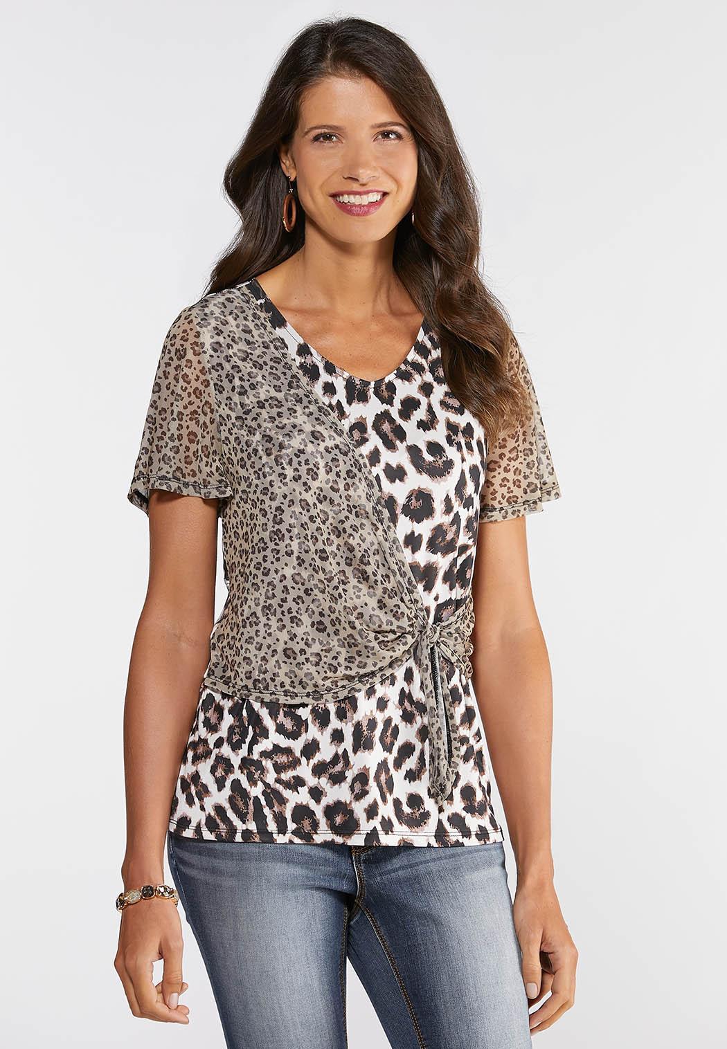 Mesh Tie Front Cheetah Top