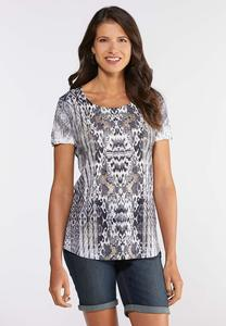 Plus Size Mixed Print Studded Tee