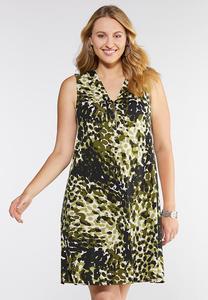Plus Size Camo Zip Neck Shift Dress