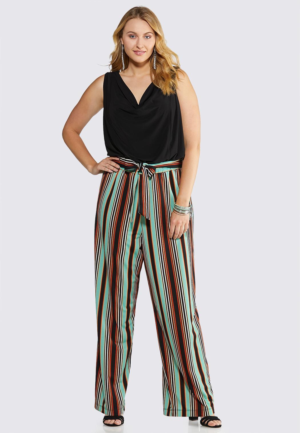 Plus Size Solids And Stripes Jumpsuit