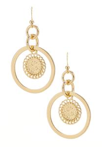 Coin In Circle Earrings