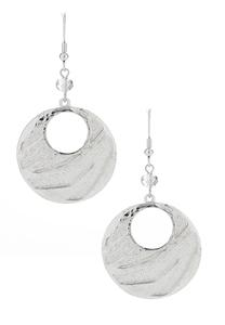 Silver Zebra Circle Earrings