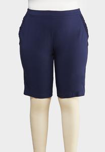 Plus Size Ruffle Pocket Bermuda Shorts