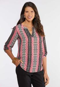 Aztec Rolled Sleeve Top