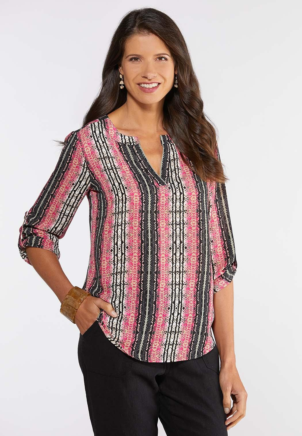 Plus Size Aztec Rolled Sleeve Top