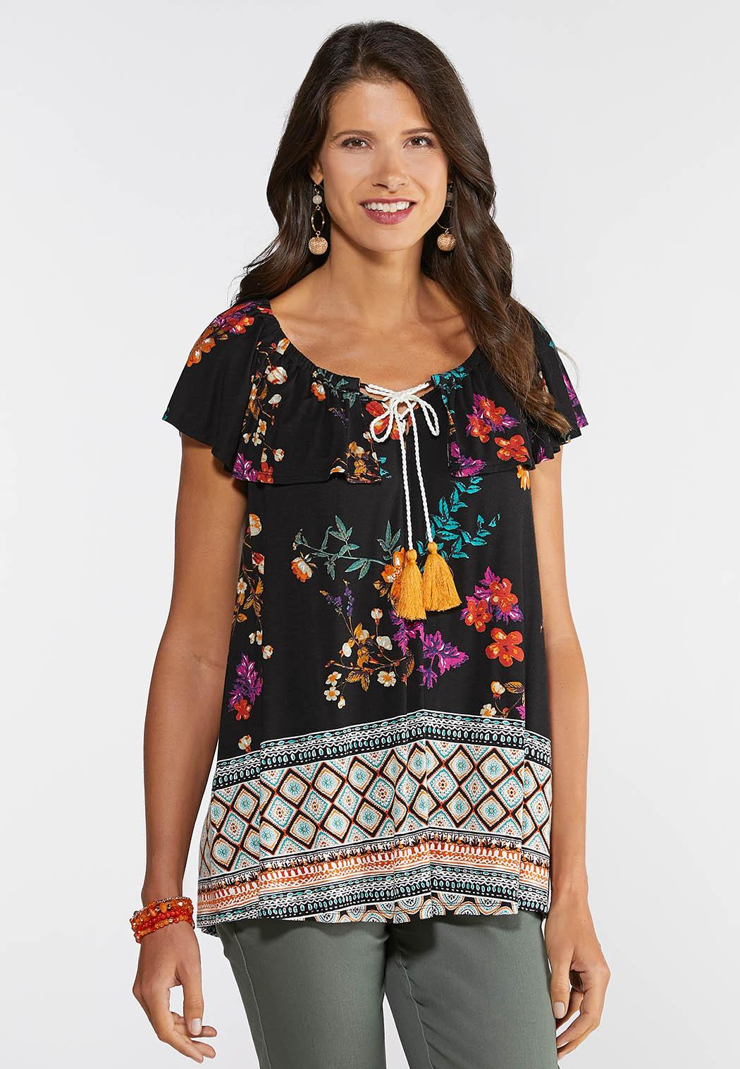Floral and Border Tie Neck Top