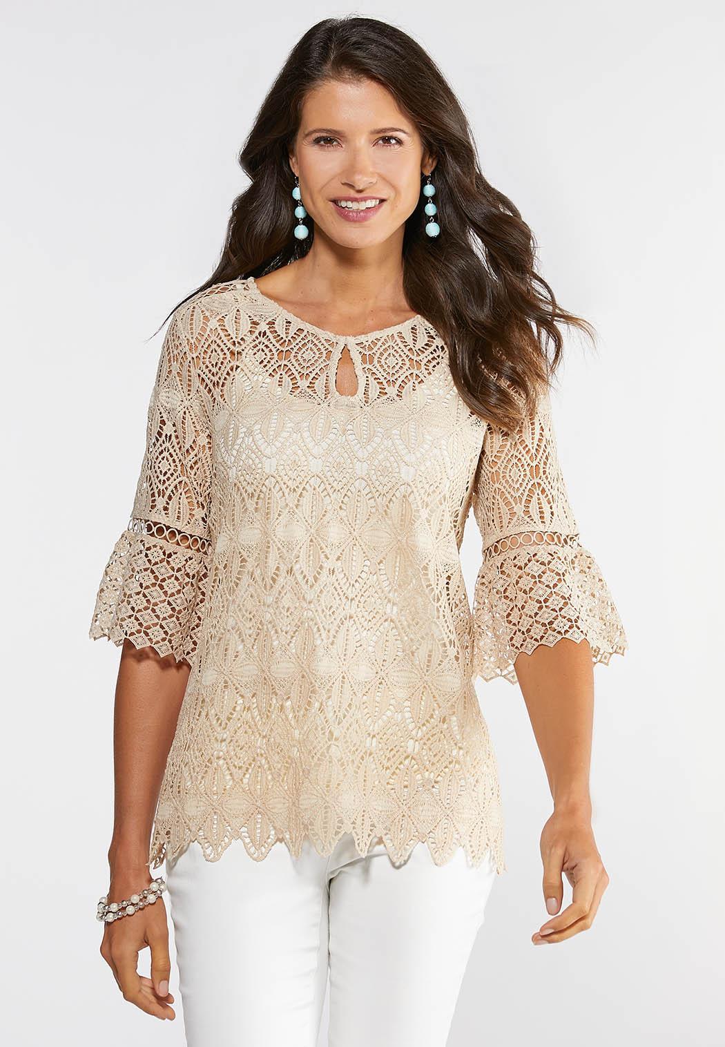 Plus Size Neutral Crochet Pullover Top