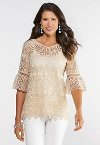 Plus Size Neutral Crochet Pullover Top
