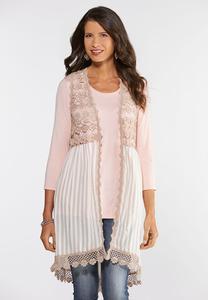 Plus Size Striped Crochet Vest
