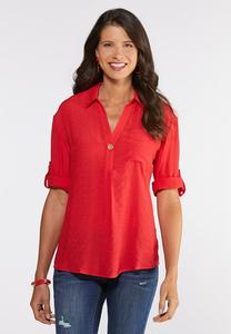 Wooden Button Red Linen Top