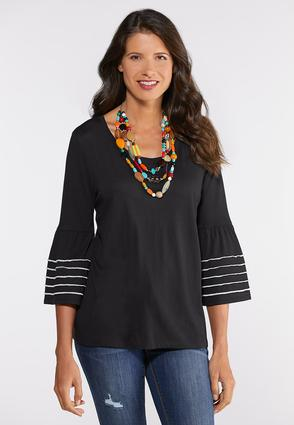 Plus Size Piped Bell Top