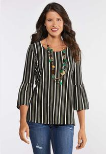 Plus Size Striped Bell Top