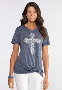 Plus Size Twisted Faith Cross Tee