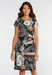 Plus Size Paisley Midi Dress