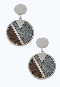 Silver Cork Disc Earrings