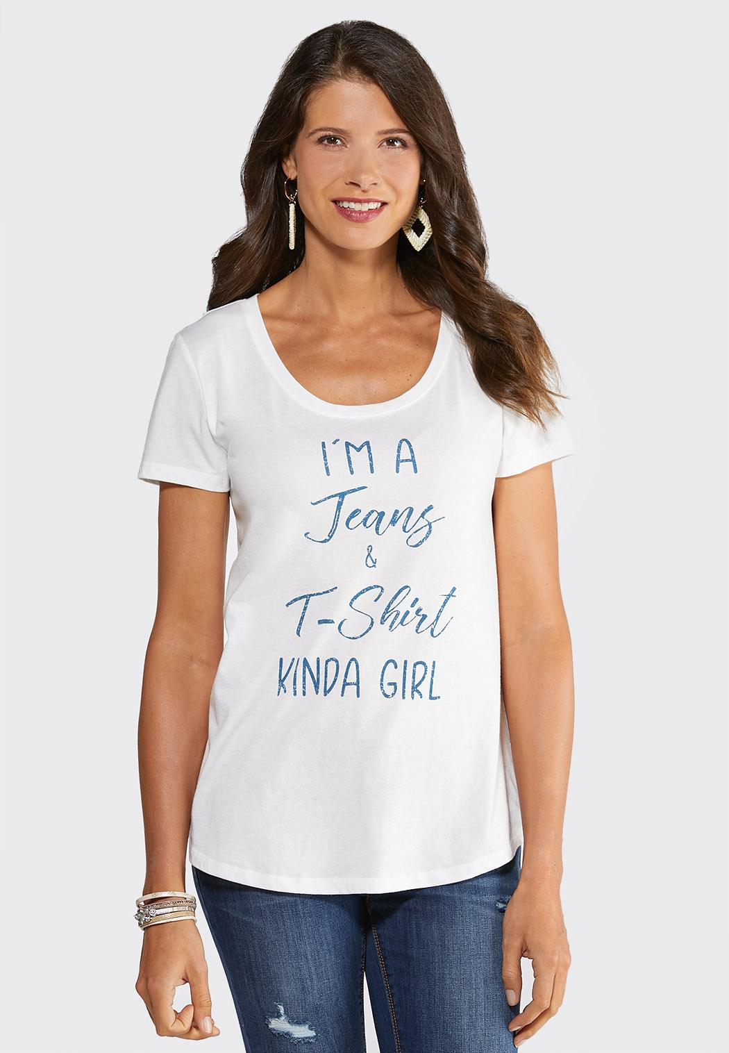 Plus Size Jeans and T-Shirt Girl Tee