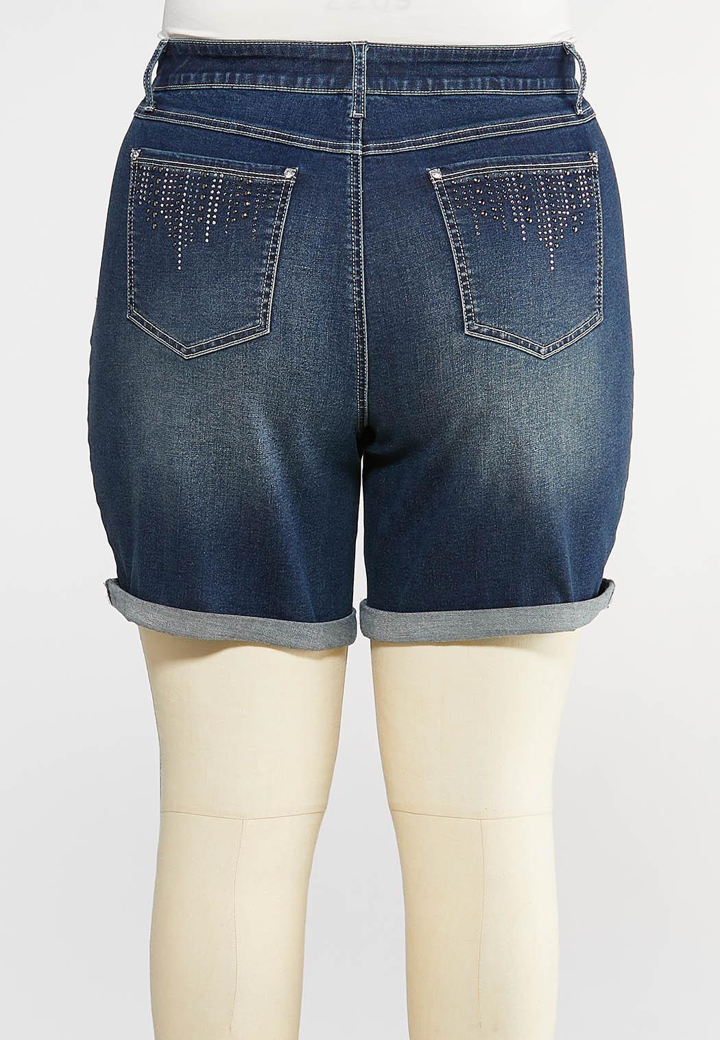 Plus Size Glitzy Stud Pocket Shorts