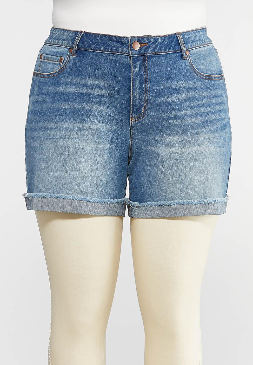 Plus Size Raw Rolled Hem Shorts