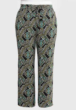 Plus Size Ornate Print Palazzo Pants