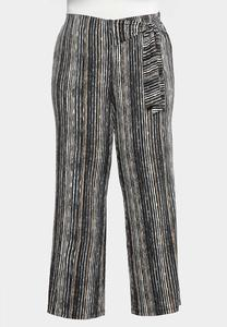 Plus Size Striped Bow Wide Leg Pants