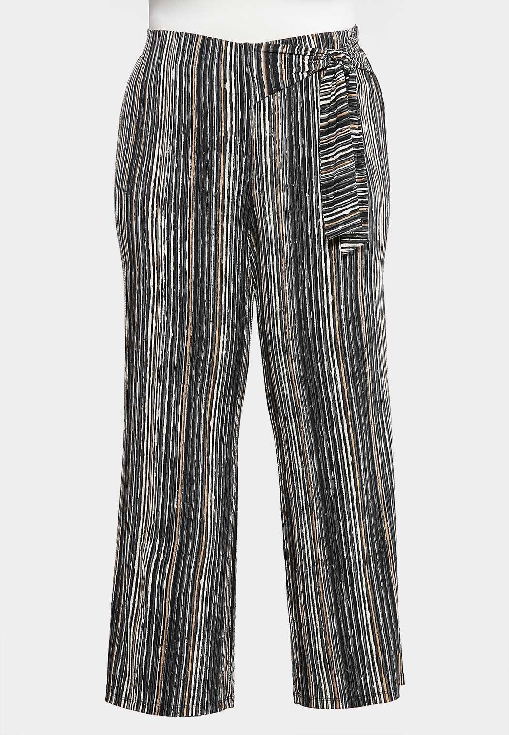 Plus Petite Striped Bow Wide Leg Pants