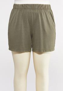 Plus Size Mesh Trim Shorts