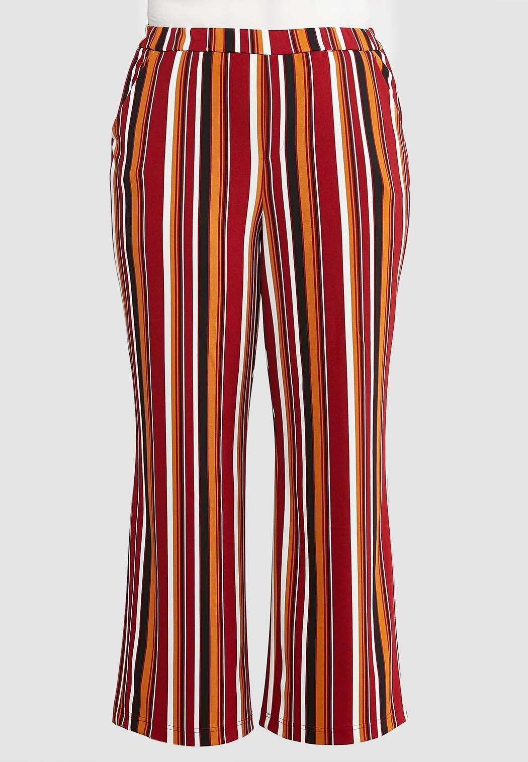 Plus Size Striped Woven Pants
