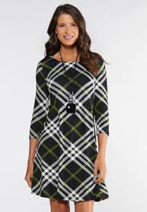 Plus Size Plaid Swing Dress