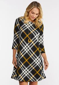 Plus Size Plaid Swing Dress