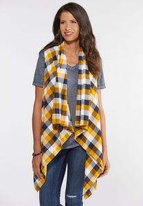 Plus Size Plaid Draped Vest