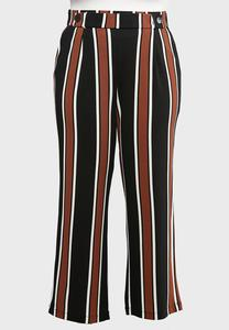 Plus Size Striped Button Waist Pants