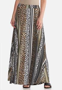 Plus Size Animal Stripe Maxi Skirt