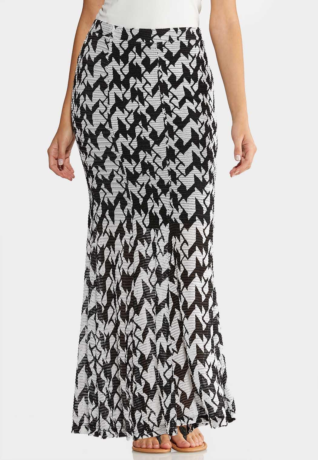 Plus Size Bold Houndstooth Skirt Maxi Cato Fashions