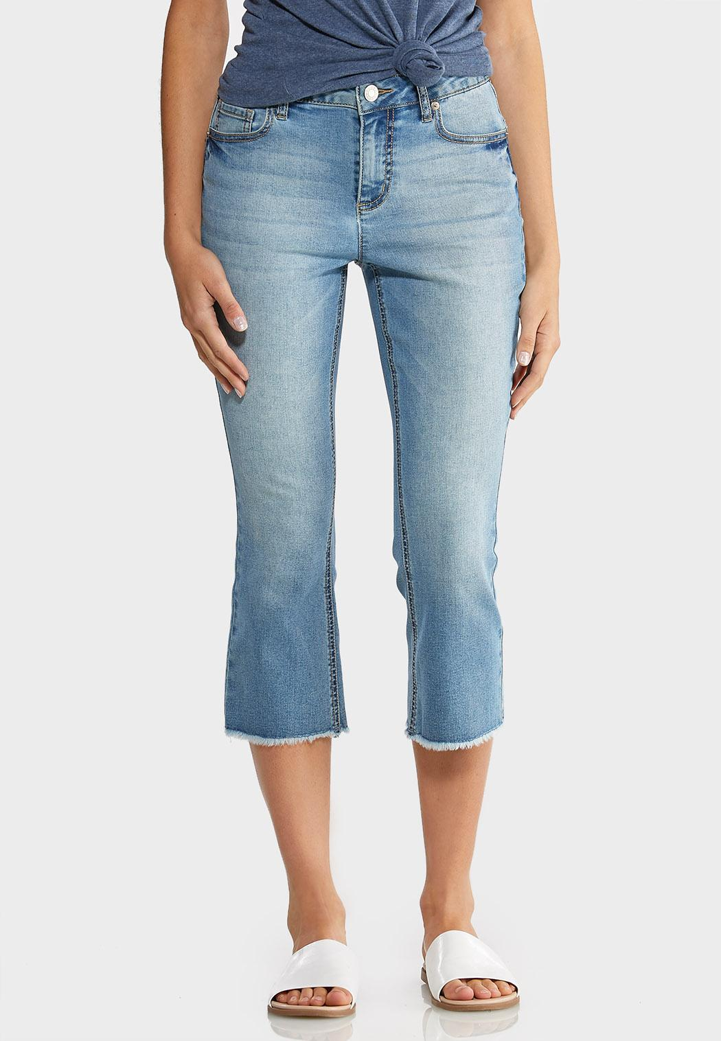 Cropped Raw Hem Jeans