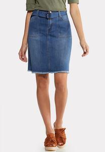 Tortoise Belt Frayed Denim Skirt