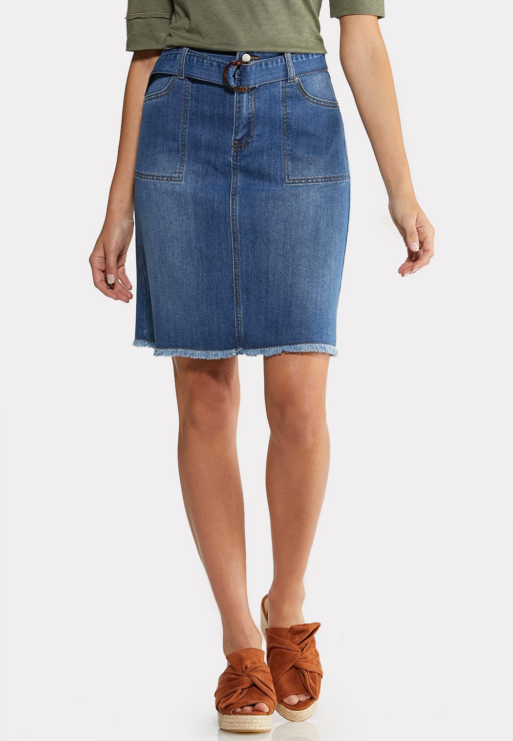 a7f8dc38d Tortoise Belt Frayed Denim Skirt Skirts Cato Fashions