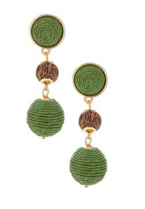 Thread Ball Wood Bead Earrings