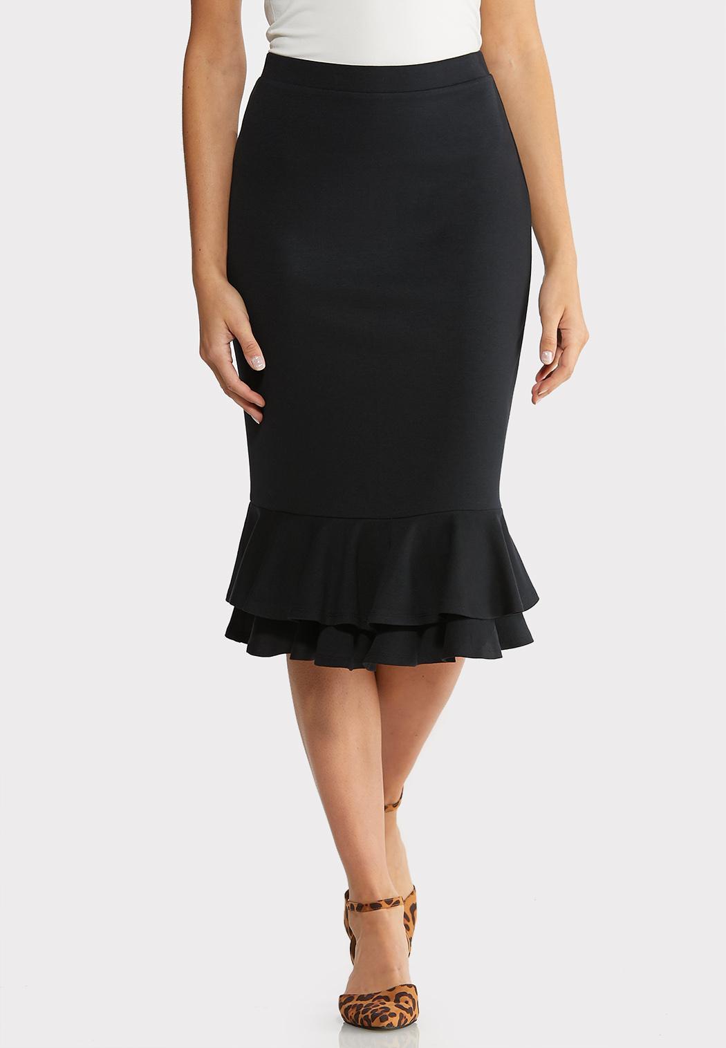 Ruffled Ponte Skirt