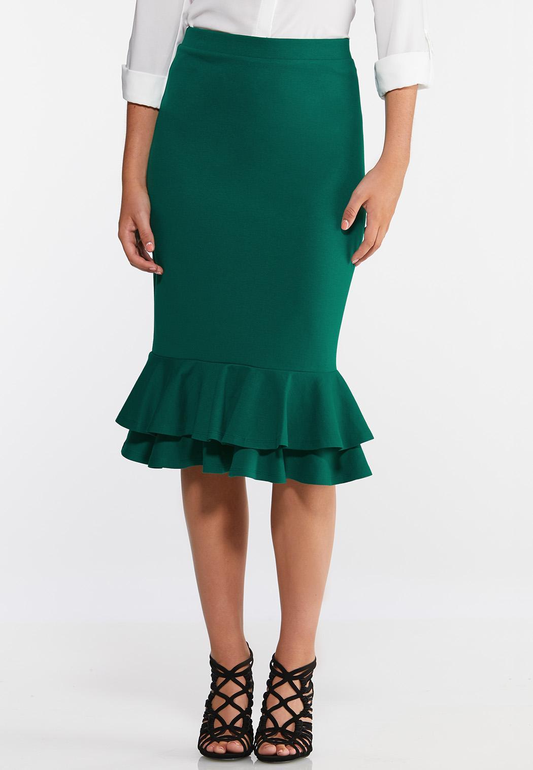 Plus Size Ruffled Ponte Skirt