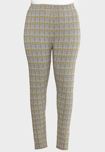 Plus Size Yellow Plaid Leggings