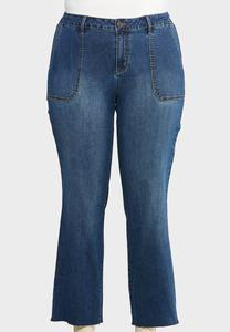 Plus Size Raw Hem Jeans