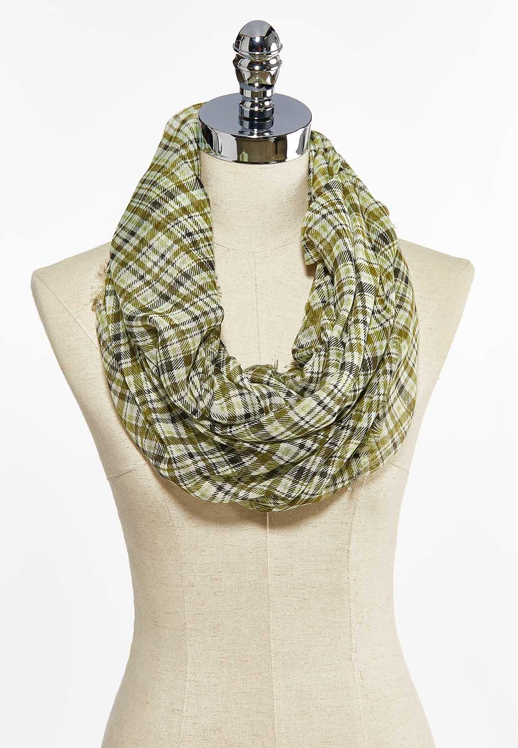 Plaid Lightweight Infinity Scarf