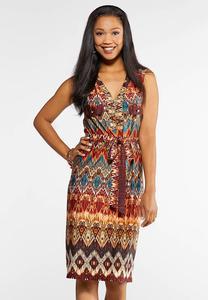 Plus Size Zip Front Aztec Shirt Dress