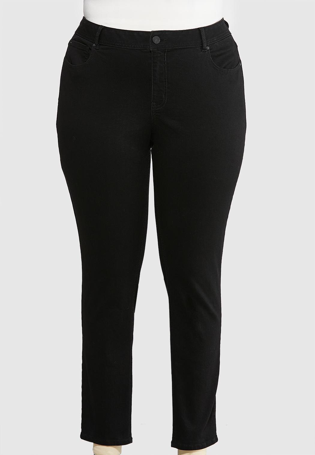 Plus Extended Black Skinny Leg Jeans