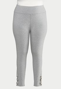 Plus Size Gray Lattice Hem Leggings