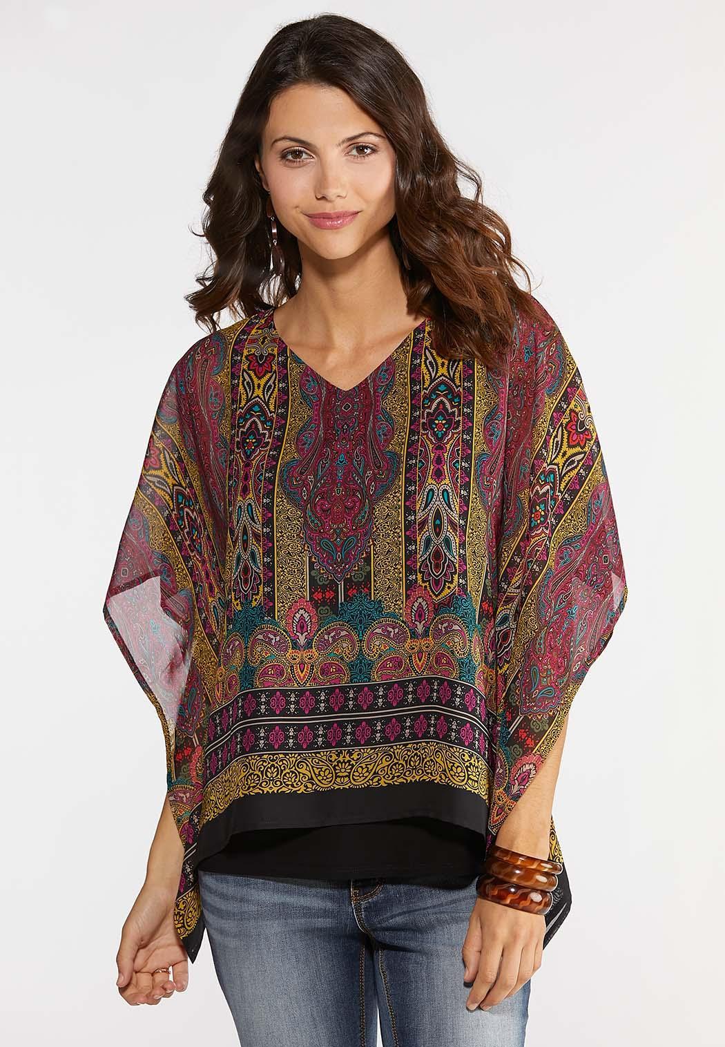 Plus Size Golden Paisley Capelet Top Shirts & Amp ; Blouses Cato Fashions