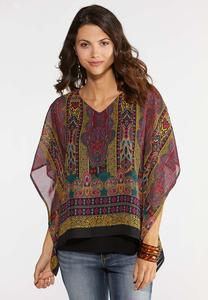 Plus Size Golden Paisley Capelet Top