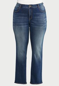 Plus Extended Straight Leg Medium Wash Jeans